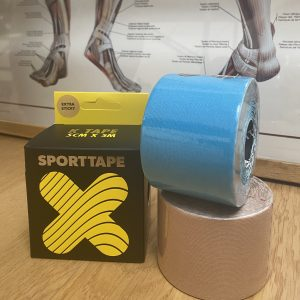 Therapeutic tape blue and beige